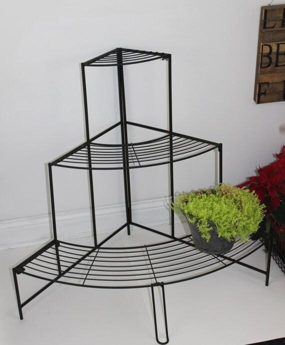 French Inspired Vintage Corner Metal Planter Metal Flower Pot