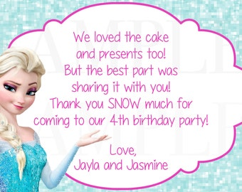 Frozen Olaf Queen Elsa Girls Gymnastics or Trampoline Birthday Printable Thank you card