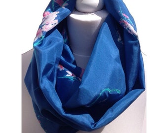 Silk Infinity Scarf- royal blue - infinity scarf -bridesmaid gift- birthday present, silk floral scarf, gift ifeas for her, one of a kind
