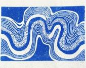 linocut - RIVERBEND - 5x7 / printmaking / block print / blue river / contemporary / nature art