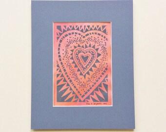 linocut - HEART - 8x10 / gray & pink / printmaking / block print / geometric / heart print / love art