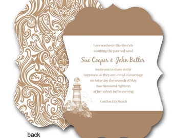Light House Damask Wedding Invitation (sample ONLY)