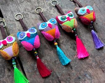 10pcs Owl Keychain Fabric Owl Keychain Embroidered Owl Keychain Fabric Key ring Beaded Keyring Colorful Owl Tassel keychain Wholesale