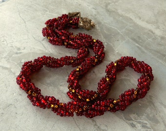 Long Red Spiral Beaded Rope Necklace w Czech Silver Lined Glass Beads in Garnet, Ruby, Topaz Gold, Handmade