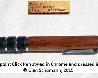 Ballpoint Pen Comfort Pen Click Pen Handmade Pen Chrome Hawaiian Koa