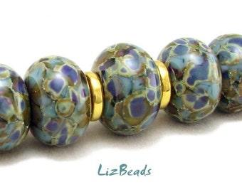SRA Handcrafted Artisan Lampwork Bead Set - BLUE IGUANA