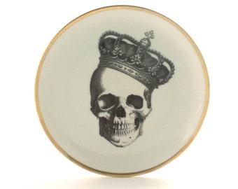 "Altered Royal Skull Vintage Plate 7.57"" Porcelain Crown Queen Halloween Decor Home Kitchen Decoration Golden Rim Skeleton Fun Human"