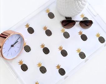 Lucite Tray - Sweet Pineapple - Black - Acrylic Tray -  2 Sizes