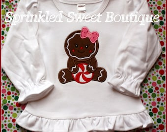 Christmas Gingerbread Girl with Peppermint Custom Appliqué Shirt Holiday Perfect for First Christmas