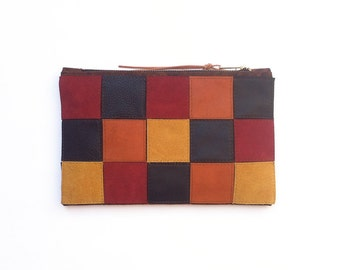 FREE SHIPPING // Zip Clutch // Zip Wallet // brown, black, maroon and mustard yellow leather