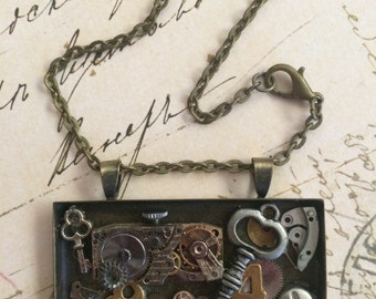 Lost In Time A Very Sreampunk Mixed Media Necklace Pendant Necklace Steampunk Necklace Watch Parts Mixed Metal Jewelry Industrial Postmodern
