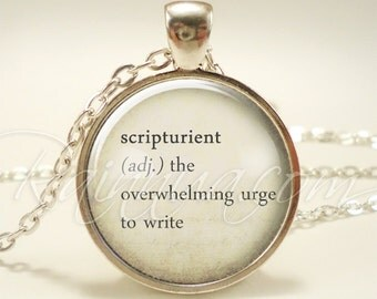 Writers Word Necklace, Inspirational Quote Jewelry, Creative Author Pendant, Gift Idea (1973S1IN)