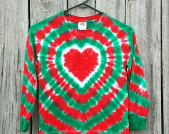 Toddler Girls  Christmas Tie Dye Long Sleeve Shirt, Available Sizes S M L XL, Red and Green Heart Tie Dye, Holiday Shirt