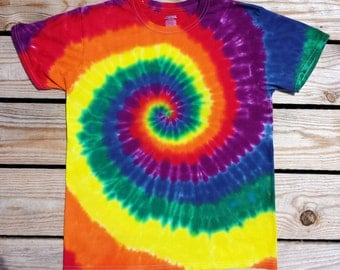 Plus Size Rainbow Spiral Tie Dye T-Shirt,  Plus Sizes 2XL 3XL 4XL 5XL 6XL, Hippie Top, Deadhead, Festival Shirt