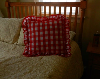 Red gingham ruffled pillow cover