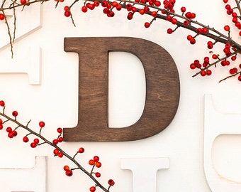 D alphabet wooden letters - 8 9 inch vintage decorative letter for wall modern custom colors woodstain brown home decor wood art sign