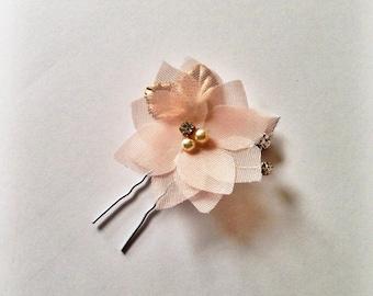 Chiffon Flower Hair Pin - Peach and Gold - Flower Bobby Pin - Bridal Bobby Pin - Bridesmaid Gift - Bridesmaid Hair Pin - Holiday Accessories