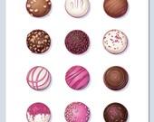 Chocolate Truffles Print -  Kitchen Wall Art Archival - food, valentines, neutral, dining, dessert