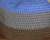 Bold Crochet Beanie Hat Simple Sections Blue Gray Brown Mens comfort hat