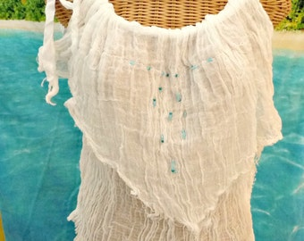 Sea Treasure Tank Top Beaded White Turquoise Artisan Cotton Gauze Spa Pool Cover Up Womens
