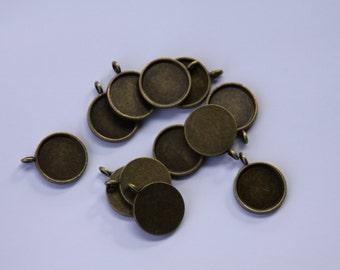 10 x 16m Antique Bronze ROUND pendant trays