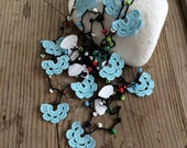 Crochet Necklace, Colorful Beads Oya Wrap Beaded Lariat Jewelry Blue and White Flowers, Beadwork ReddApple, Fast Delivery