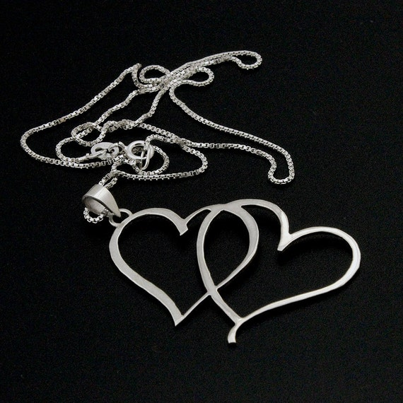 Sterling Silver Double Heart Necklace love heart Pendant with box style 925 sterling silver chain necklace