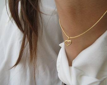 Heart bracelet, 14k gold beacelet, thin gold bracelet, dainty gold bracelet, minimalist bracelet, Valentine gift, gold heart bracelet