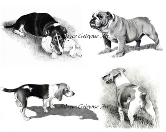 Dog Art, Hand Drawn Dog Clip Art, OOAK Realism Drawings, 4 Separate Pencil Drawings of DOGS, instant Download, Bull Dog, Terrier, Beagle