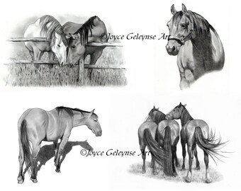Horse Art, Hand Drawn Horse Clipart, OOAK Realism Drawings, Equine Art, Four Separate Drawings of Horses, WHOA Team instant Download