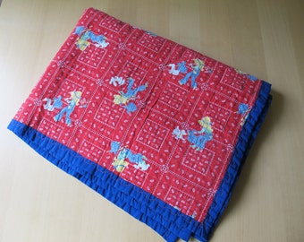 70s Vintage Red and Blue Bandana Quilt with Girl and White Dog Print