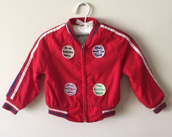 80s Boys Red Baseball Fan Jacket with Team Patches, Size 2T to 3T