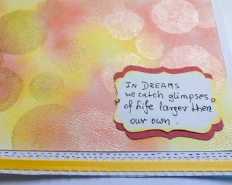 Hand made cards: Dreams - pink - yellow - lights - hand stamped - handmade - bokeh - Wcards