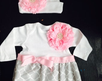 Coming Home Outfit, Take Home Outfit, Going Home Outfit, Layette, Newborn Nightgown, Newborn Dress, Baby Cap, Baby Shower Gift
