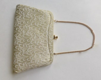 Vintage 1960's Gold Metallic Brocade Frame Clutch/Purse with Gold Clasp