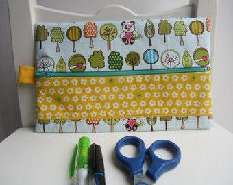 Zippered Pouch in Sunny Happy Skies