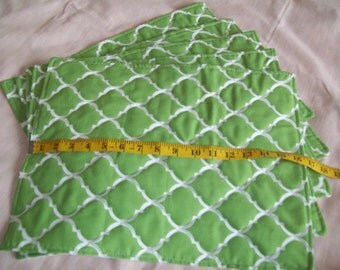Quilted Placemats - Green Placemats - Quatrefoil Placemats - Green Quatrefoil Placemats - Free Shipping