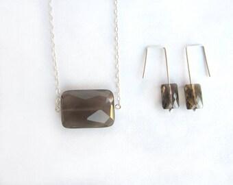 Smoky quartz necklace and earrings set, faceted quartz necklace, faceted smoky quartz earrings, sterling silver genuine smoky quartz set