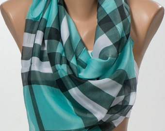 MINT and Black and White Plaid Scarf for her. Fashion Scarf. Headband. Neck Wrap. Mothers Day. FREE Shipping.