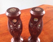 Tiki Salt & Pepper Shakers, Abalone in Carved Wood, Vintage