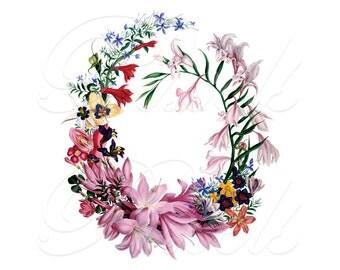 FLORAL FRAME Instant Download, Wedding Clipart, Image Transfer, Digital Download, Botanical Illustration no.314