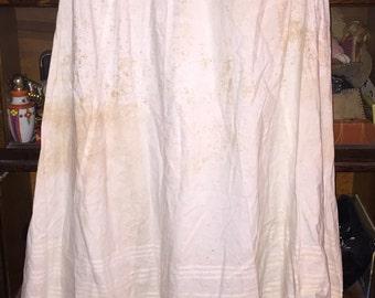 Antique Victorian Petticoat Lovely Extra Long Antique Vintage Victorian Edwardian Cotton Petticoat w Lovely Eyelet Lace Double Hem