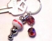 Beaded keychain, Funky keychain, orange and silver keychain, key ring, key holder, keychains, keys, summer jewelry