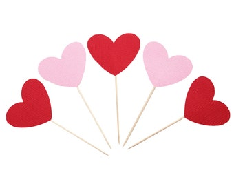 Pink and Red Heart Cupcake Toppers / Food Picks Valentine's Day Love Wedding