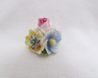 Vintage Crown Staffordshire Floral Pin - 1940s Painted Ceramic England Flower Brooch