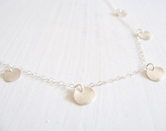 Silver disc necklace, silver necklace, bridal necklace, deilcate necklace, sterling silver chain