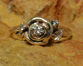 Vintage Antique Engagement Rose Flower Ring // Solitaire Diamond Engagement Ring // Rose and Rosebuds with Leaves and Vines // Natural Ring