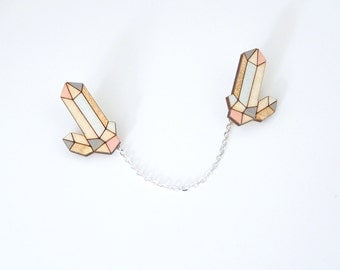 Crystal quartz laser cut collar pins - pastels and gold / collar chain, collar pin