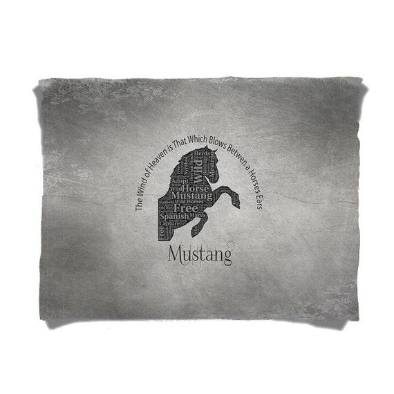 Fleece Blanket Mustang Horse Word Art By Designerdiner On Etsy