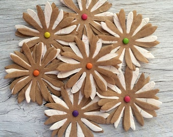 Paper flowers - scrapbook embellishments - journal embellishments- set of 10